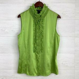 St John Lime Green Silk Ruffle Neck Blouse Shell